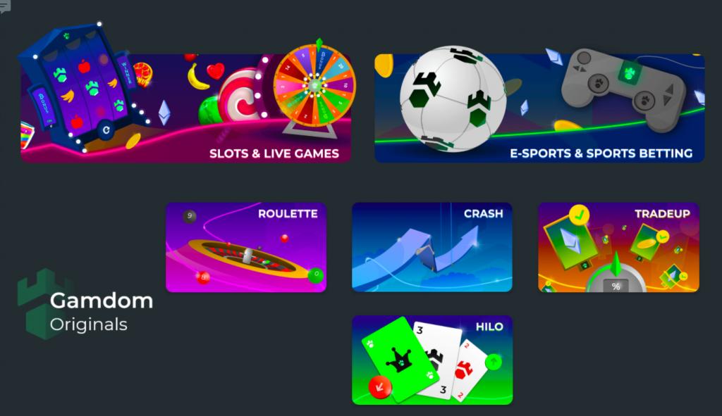 gamdom games selection